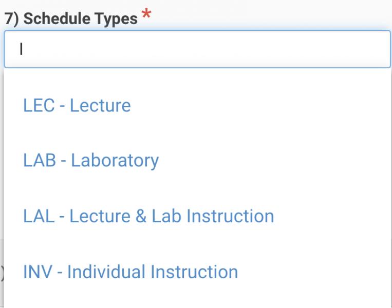 General Information: Schedule Types   Curriculum