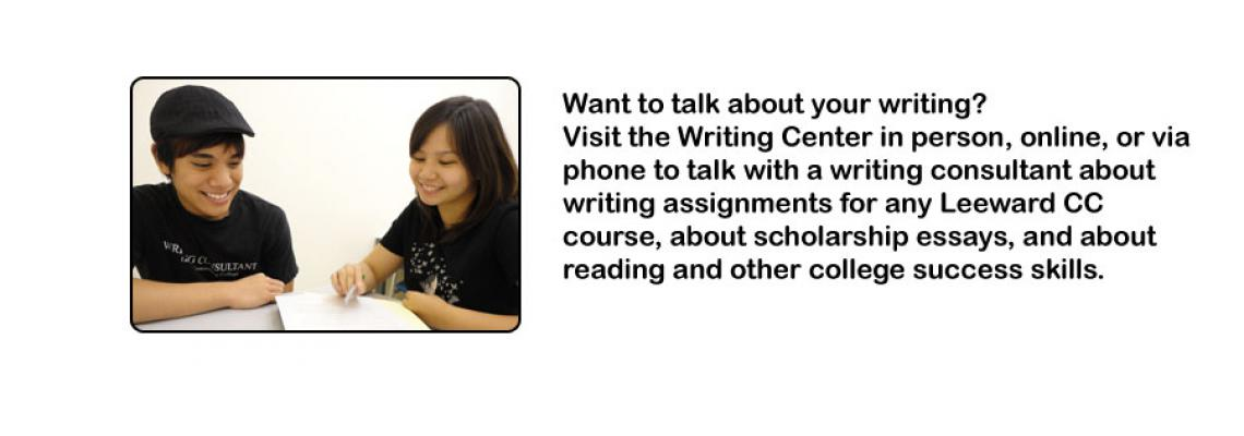 Image of writing consultant working with student with general information about writing center services